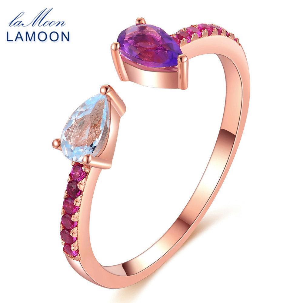Lamoon للتعديل teardrop توباز الجمشت الطبيعي 925 الفضة الاسترليني عصابة النساء المجوهرات LMRI043 Y18102610
