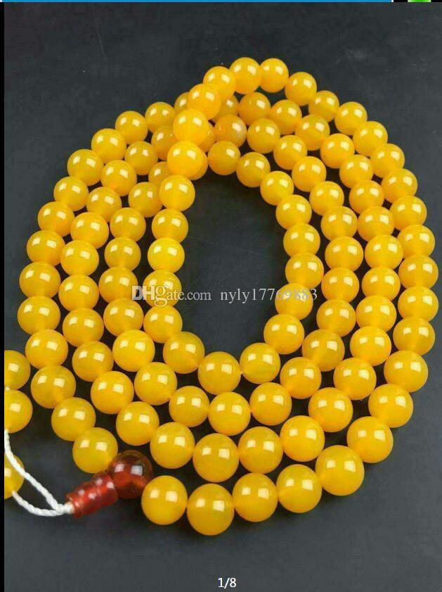 8 mm Natural yellow agate beads necklace with free shipping C1