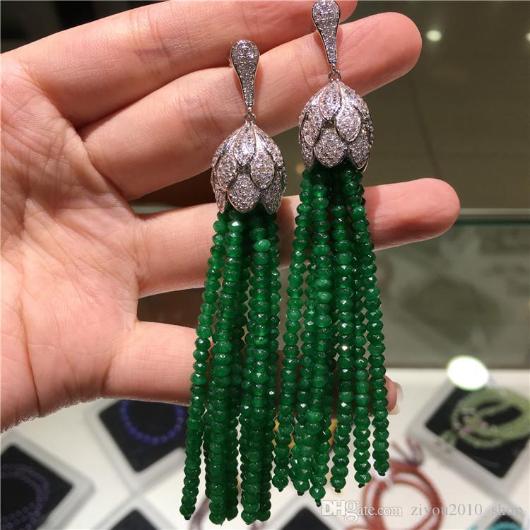 Vente chaude styles de jade naturel face noir violet bleu vert européen américain micro incrusté de bijoux de mode boucles accessoires zircons
