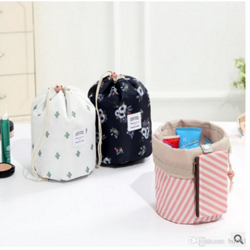Women Cosmetic Storage Bag Barrel Shaped Makeup Drawstring Bags Travel Bundle Pocket Cactus Flamingo Flower Printing 5 2hl Ww