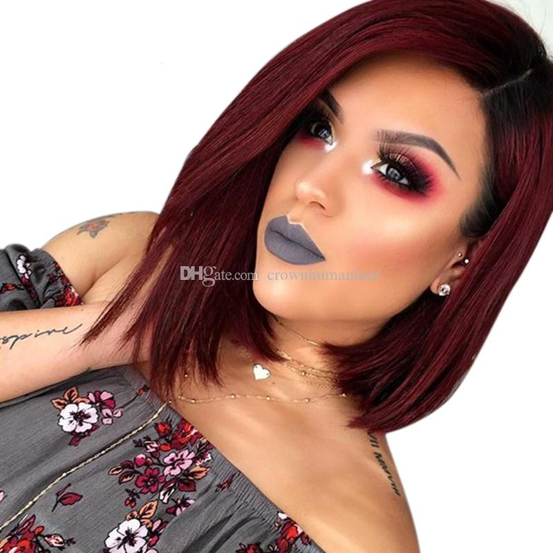 1B/99J Brazilian Lace Front Human Hair Bob Wigs Short Straight Ombre Color Lace Wig For Black Women Remy Human Hair Wigs