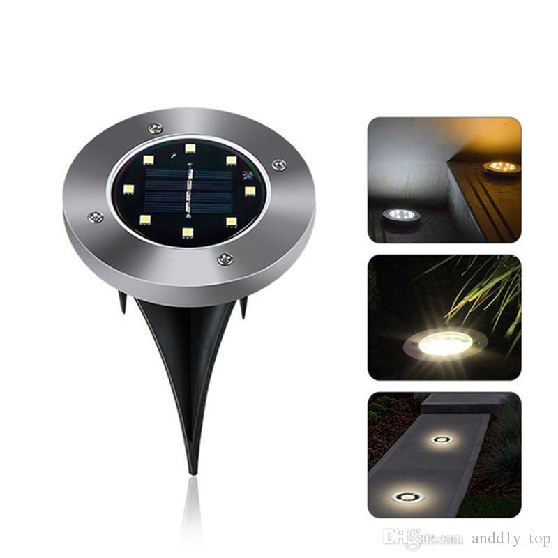 IP65 impermeable 8 LED solar al aire libre Lámpara de tierra al aire libre Paisaje Césped Jardín Stain Underground Enterred Buried Night Light Home Garden Decoración