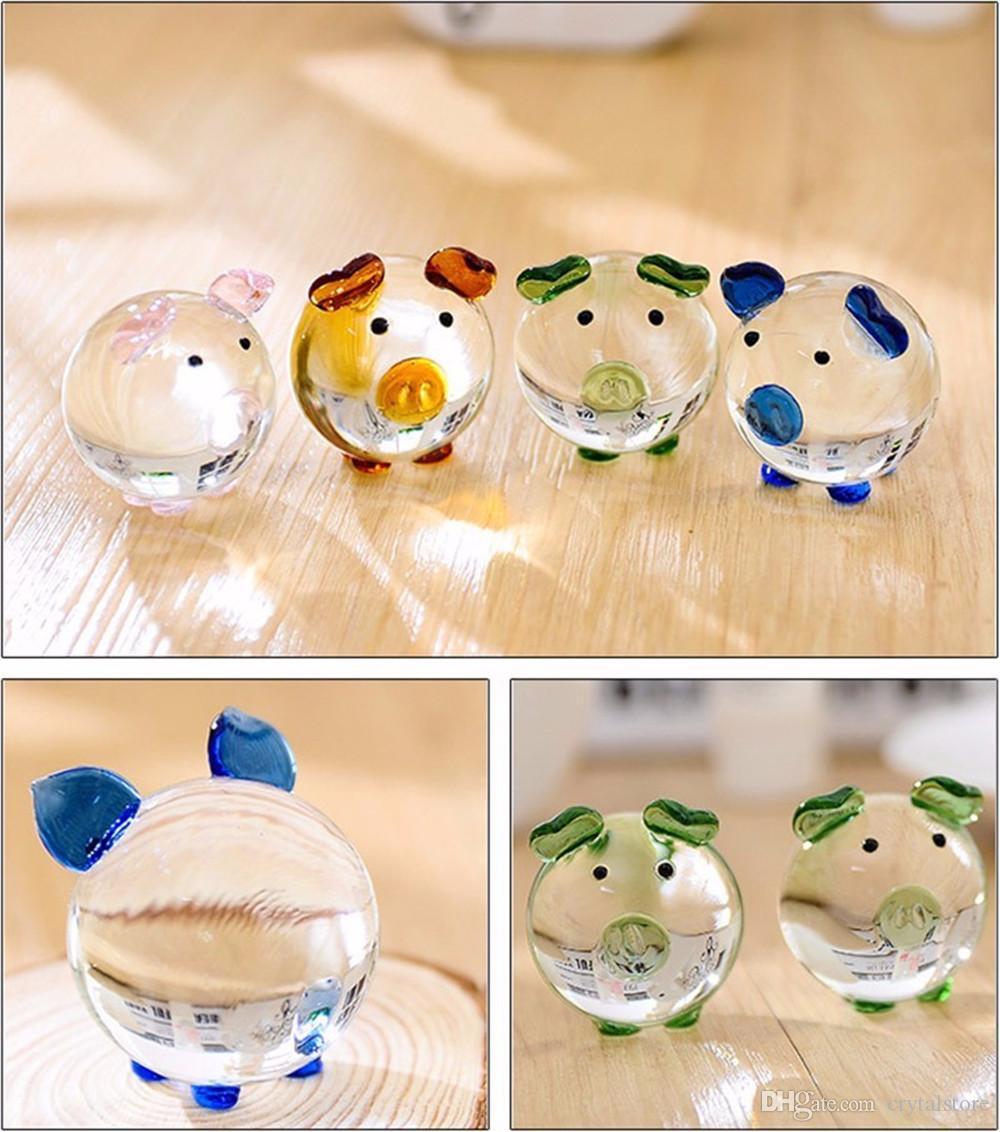 2 Pcs Christmas Crystal Glass Animal Pig miniature Figurines Desk Bauble Ornaments Mini Home Furniture Wedding Crafts Souvenirs