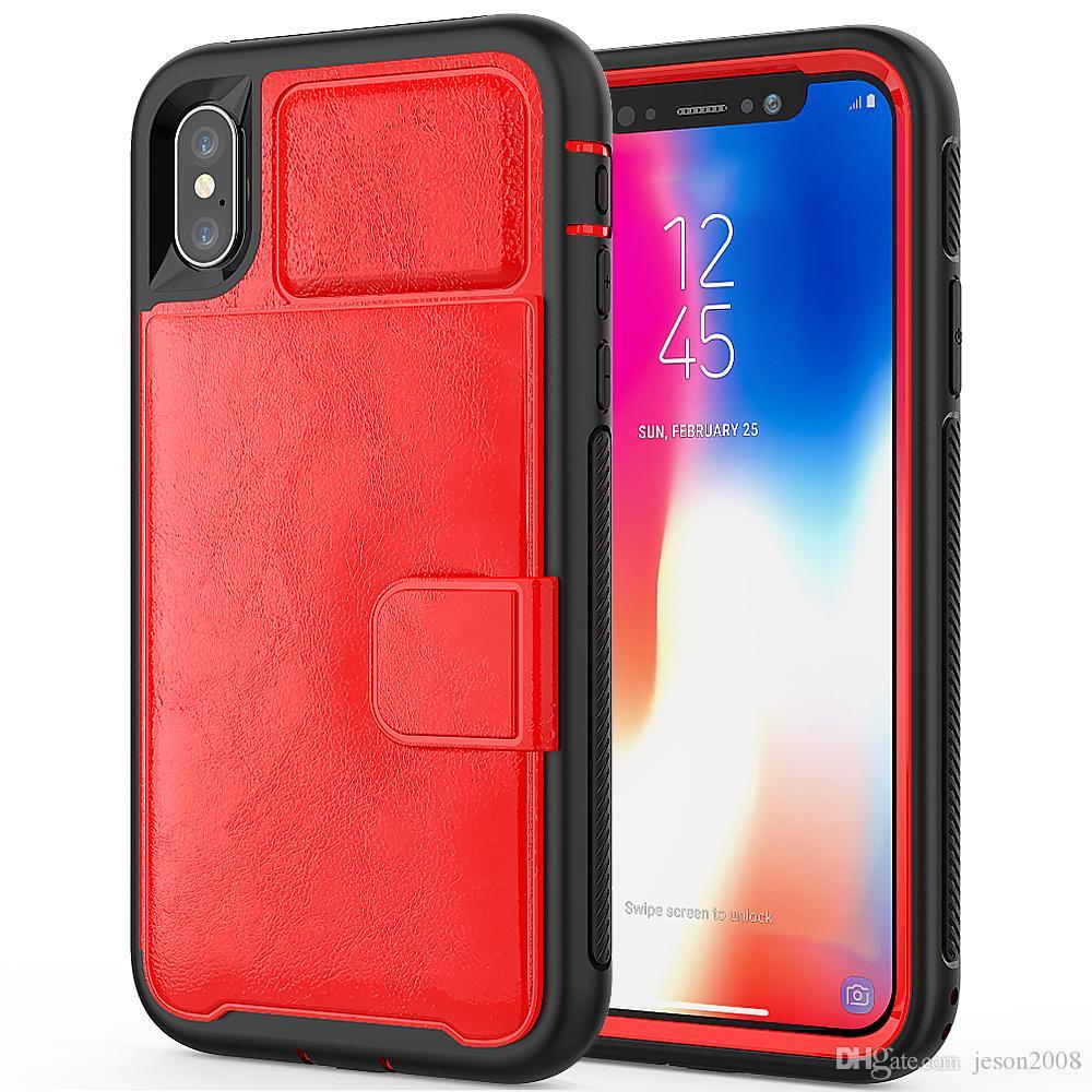 Funda de cuero billetera para iPhone X 8 7 6 6S Plus 3 en 1 Funda de coche magnética para Samsung Galaxy S9 Plus Funda para teléfono móvil