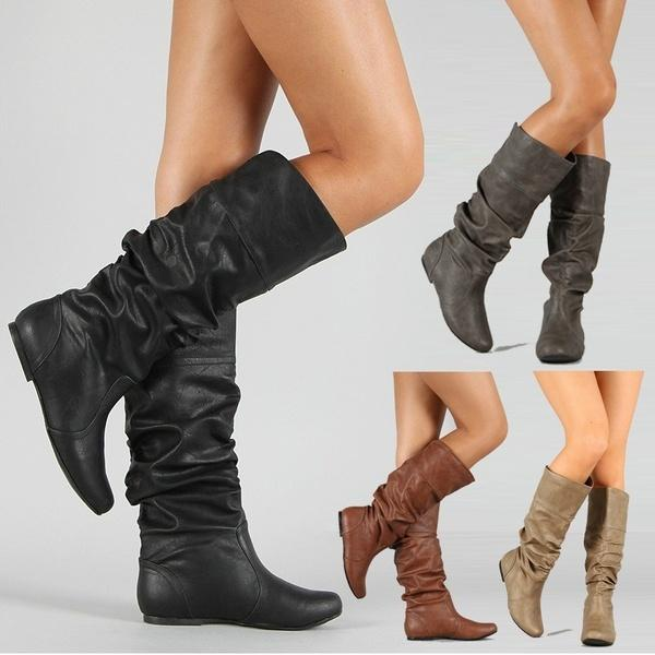 819f4aca1bf Fashion Women Winter Shoes Flat Heel Solid Color Long Boots Pointed Toe  Knee High Ladies Boots Leather Stitching Wellies Boots For Women From ...