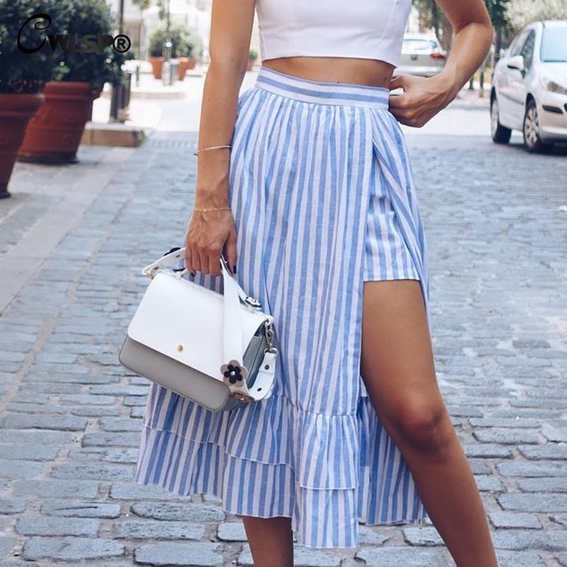 CWLSP Saia Das Mulheres Casuais Moda Cintura Alta Babados Hem Saia Sexy Femme Dividir Lado Oco Para Fora Listrado Roupas Femininas QZ2953