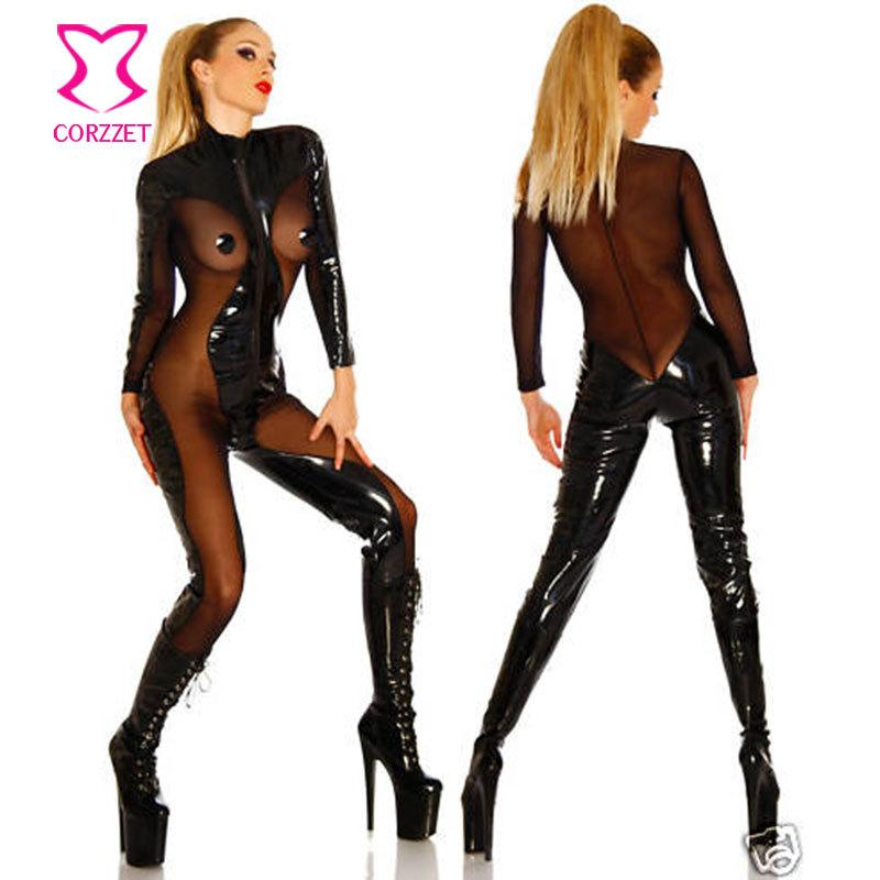 Compre Corzzet Tallas Grandes Body Sexy Latex Pvc Vestido Mono Zentai Disfraz Mujeres Negro Catsuit Pole Dance Clothes A 26 67 Del Junqingy Dhgate Com