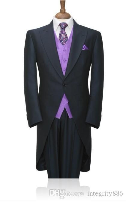 Mode Gris Foncé Tailcoat Hommes Tuxedos De Mariage Matin Groom Tuxedos Hommes Dîner Prom Ceremonial Dress (Veste + Pantalon + Cravate + Gilet) 1758