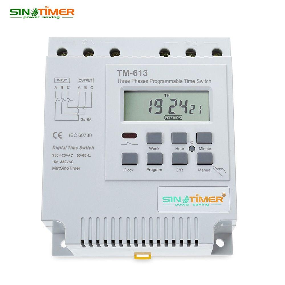 Freeshipping AC 380 V LCD Dijital Çok Amaçlı Üç Faz Programlanabilir Kontrol Güç Zamanlayıcı Anahtarı Yüksek Güç Zaman Röle Enstrüman