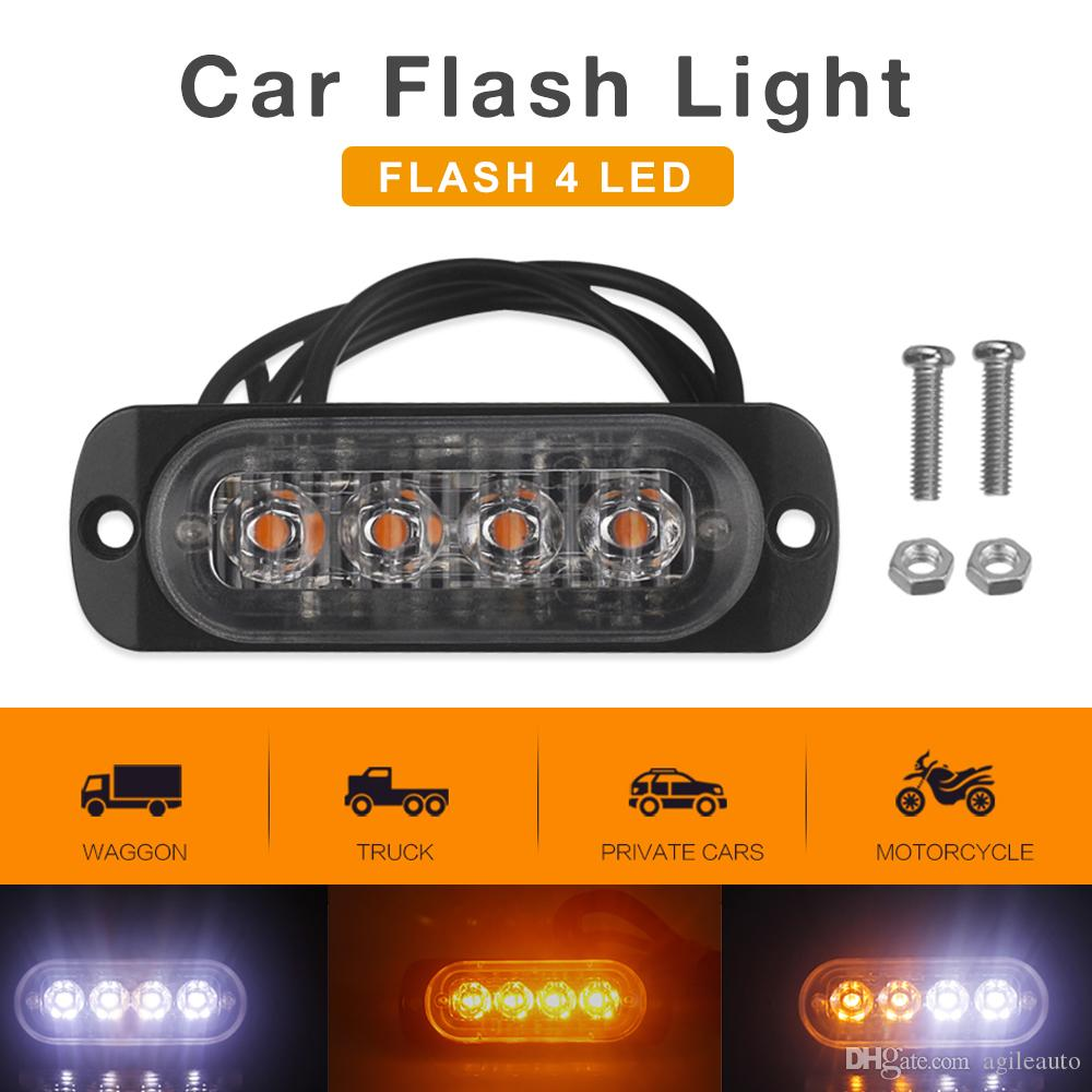 2X 4 LED Car Truck Emergency Beacon Light Bar Hazard Strobe Warning Amber Yellow