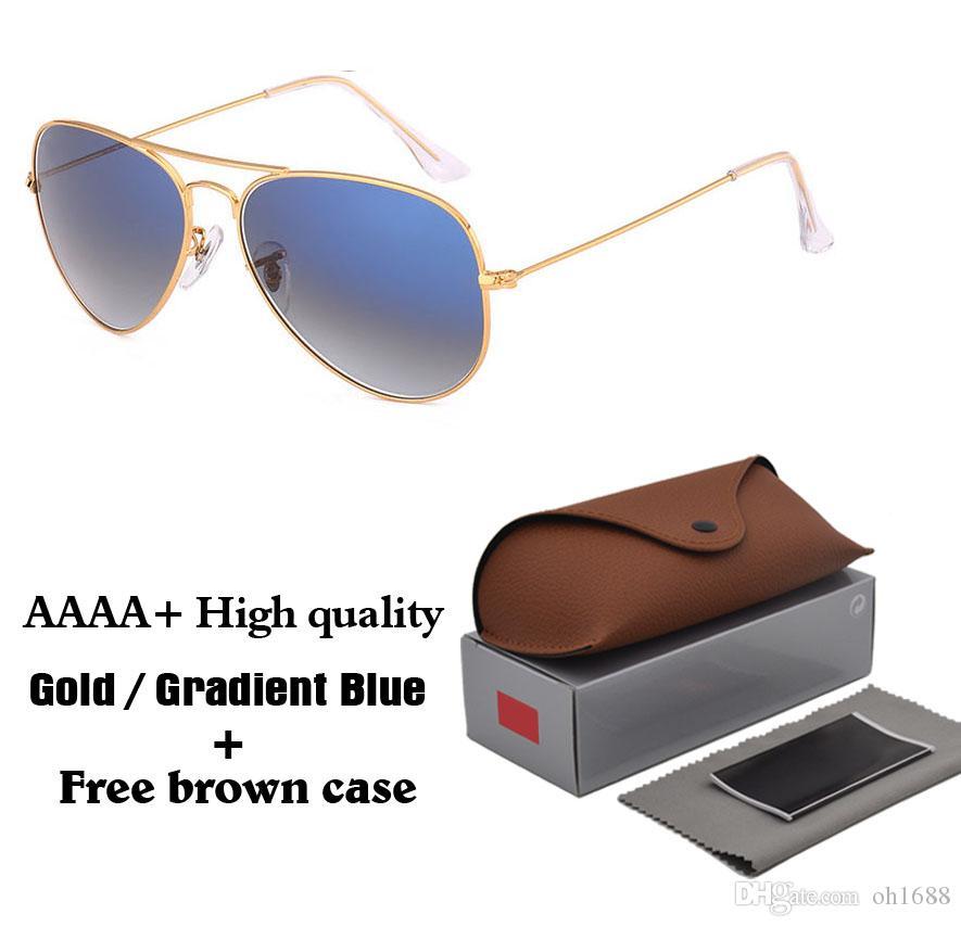 5A lente de cristal gradiente de calidad superior piloto clásico gafas de sol hombres mujeres gafas de sol de moda de vacaciones con fundas y accesorios gratis