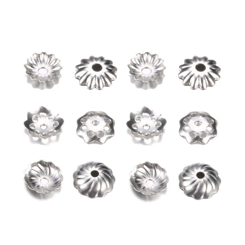 500pcs / серия из нержавеющей стали Torus бисера Caps для Pearl End RECEPTACLE Flower Diy отстоящих друг от друга вспомогательного оборудования ювелирных изделий для оптовой продажи