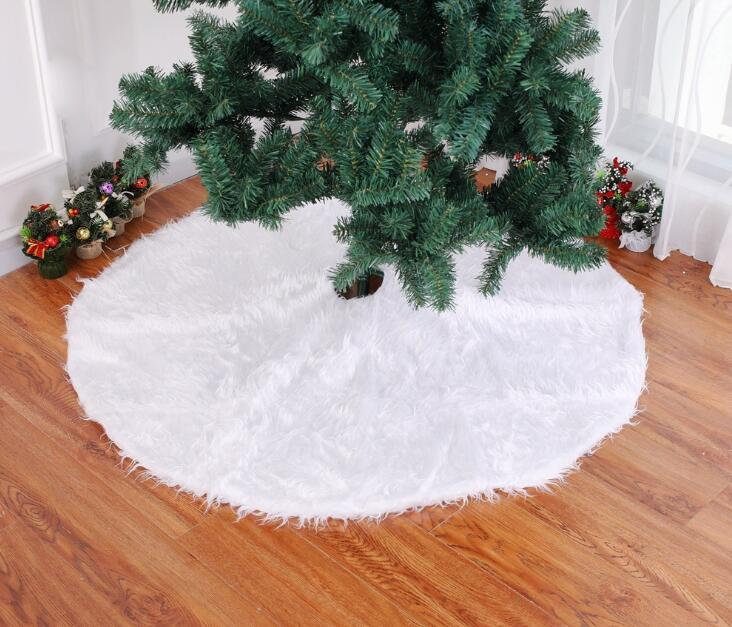 Christmas Tree Skirt Mat Cover Plush Base White Snow Xmas Home Decor Blanket