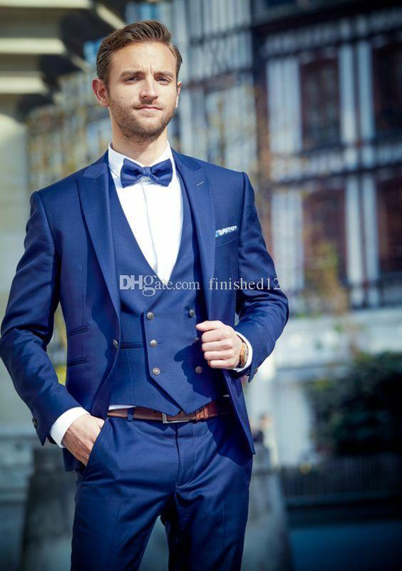 Горячая продажа одна кнопка синий свадебный жених смокинги пик лацкане женихи мужские ужин блейзер костюмы (куртка+брюки+жилет+галстук) нет: 1521
