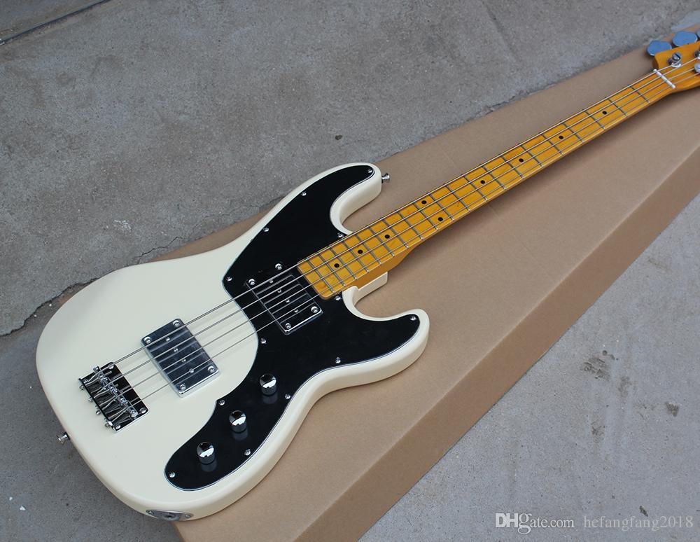 Белые электрический бас-гитара с черной накладкой, Желтый кленовым грифом, 4 String, Chrome Аппаратных средствами, пользовательское Предложением услуг