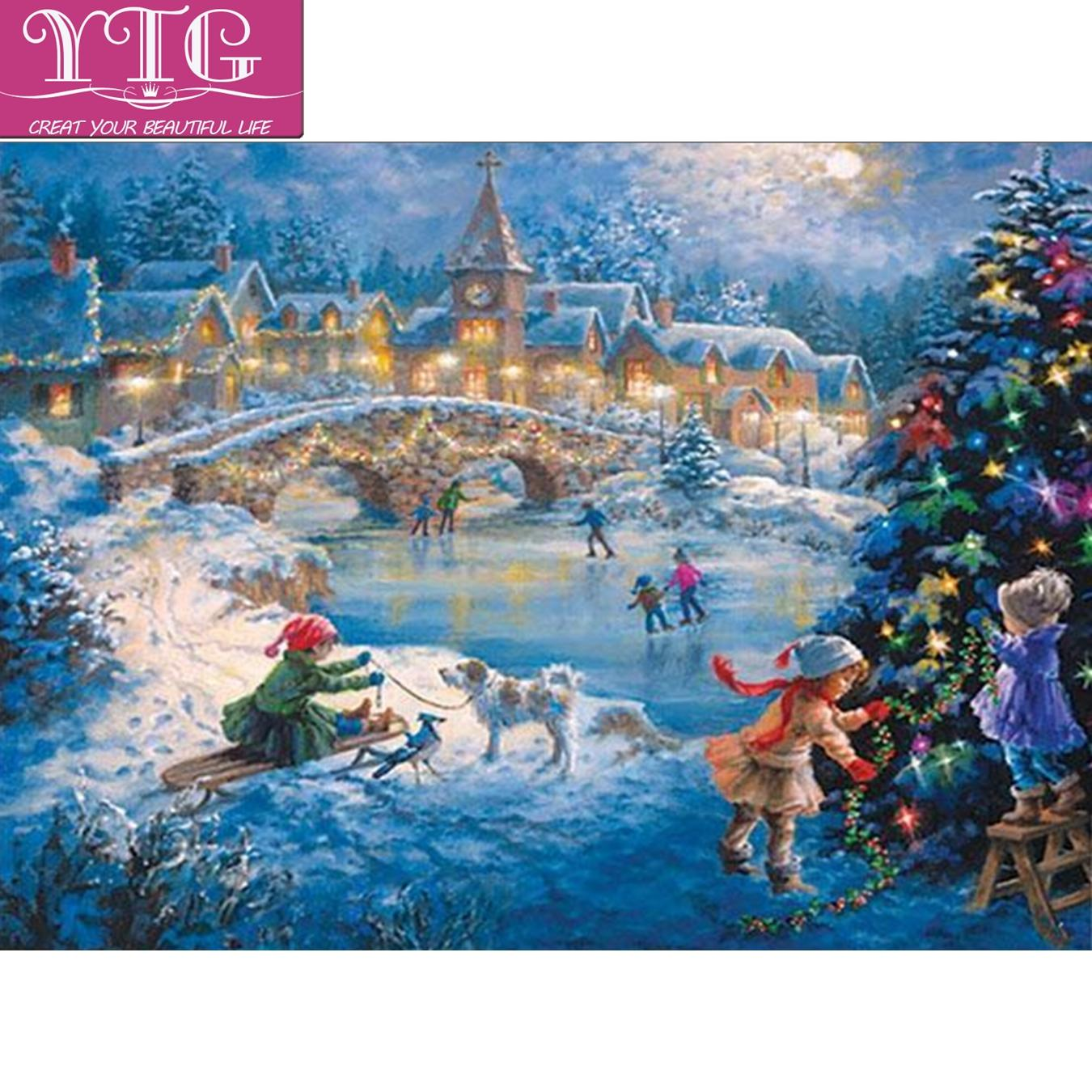 Christmas Snow.2019 Christmas Snow Scenery Diamond Embroidery Diamond Painting Full 5d Cross Stitch Mosaic Round Rhinestone Diy Home Decoration Gift From