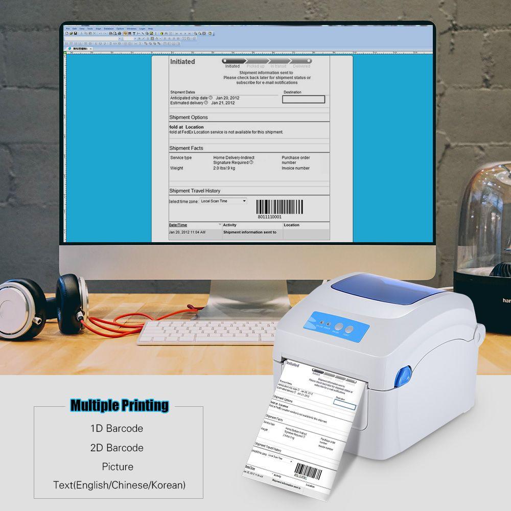 Gprinter Thermal Printer 1D 2D QR Barcode Label Address E Waybill Printing  8inch Fast Speed 20 118mm Width External Entrance Wifi Printers Wireless