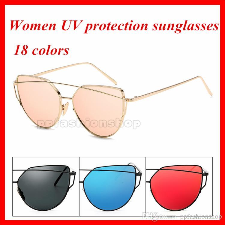Новая женщина роскошные моды металлические солнцезащитные очки мода Trend кошек глаз солнцезащитные очки для леди козырек солнцезащитные очки 18 цветов дополнительные модные аксессуары