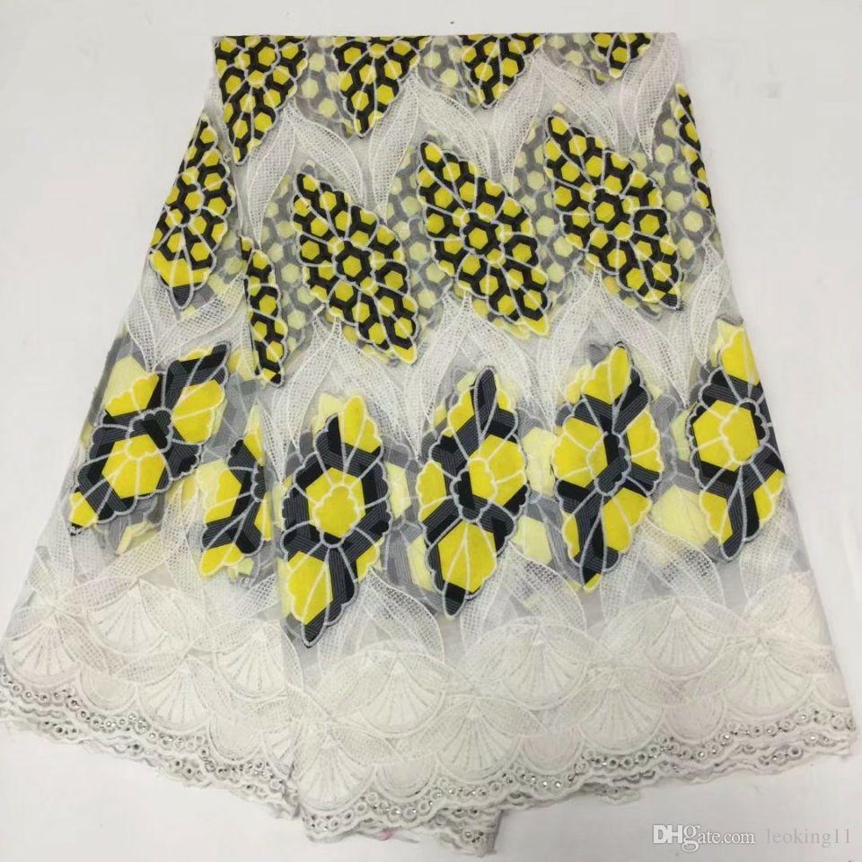5yards / pc ricamo meraviglioso stile giallo pizzo di seta del latte africano e tessuto di cotone viola per il vestito BM3-4