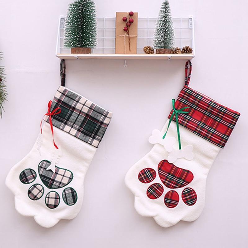 1 UNIDS Claw Plaid Bolsa de Regalo de Navidad Bolsa de Caramelo Pata Calcetines de Navidad de Navidad Árbol Ornamento Decoración de Navidad Envío Gratis