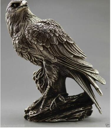 Collectible Decorated Old Handwork Tibet Silver Carve Eagle On Tree Box & Statue metal handicraft