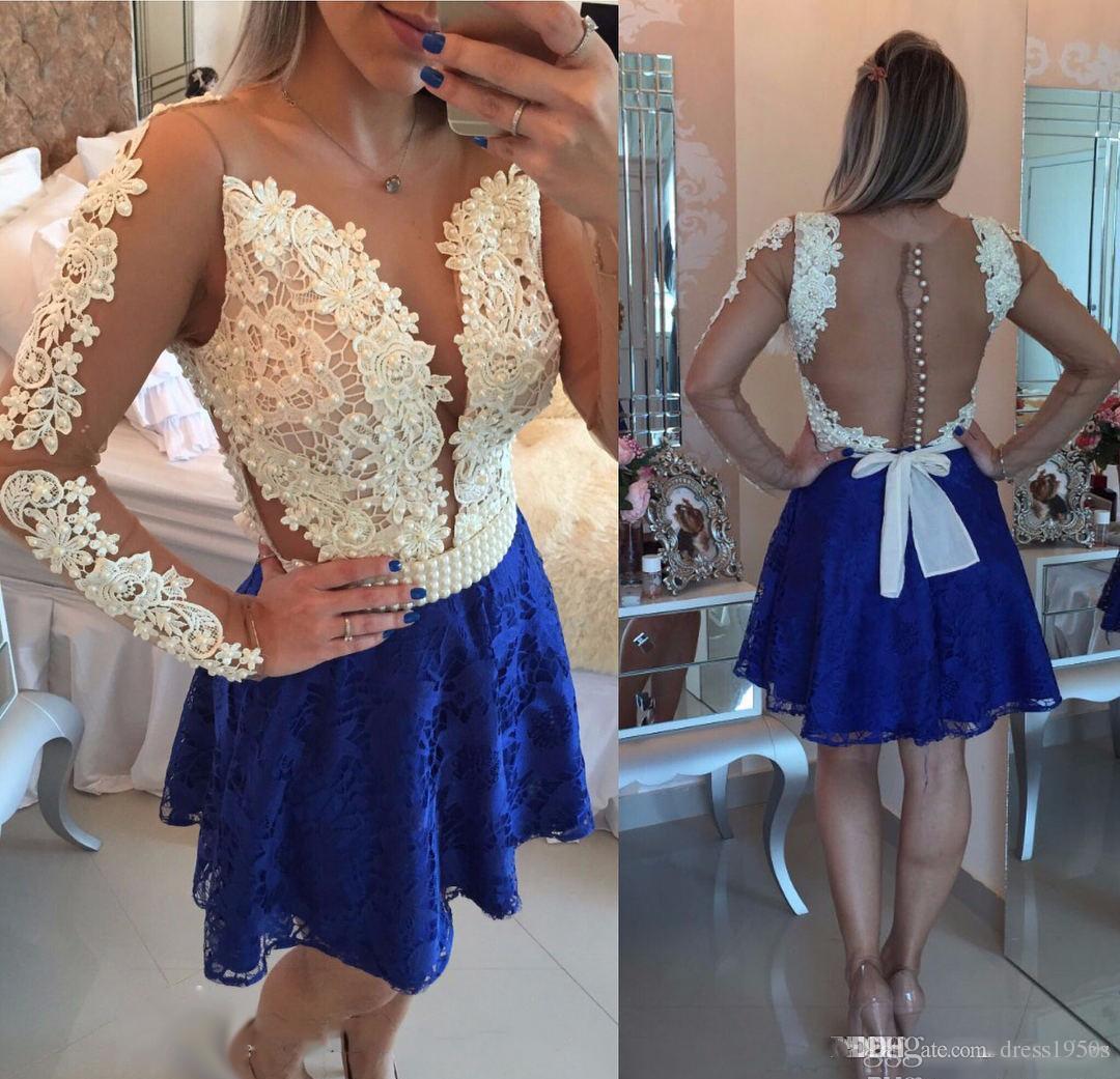 Дешево Royal Blue Blue Line Lace Homecoming платье с длинными рукавами Appliques Juniors Sweet 15 градация коктеиля платье плюс размер