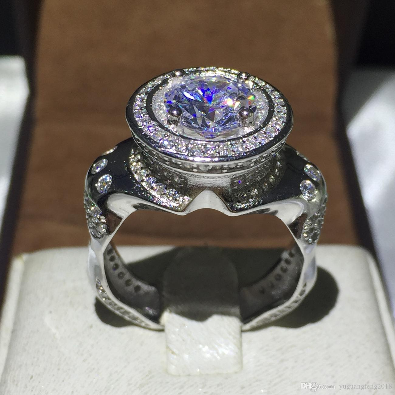Benzersiz Tasarım yüzük 5A Zirkon kristal 925 Ayar Gümüş Nişan düğün band yüzükler erkekler için Parti noel hediyesi