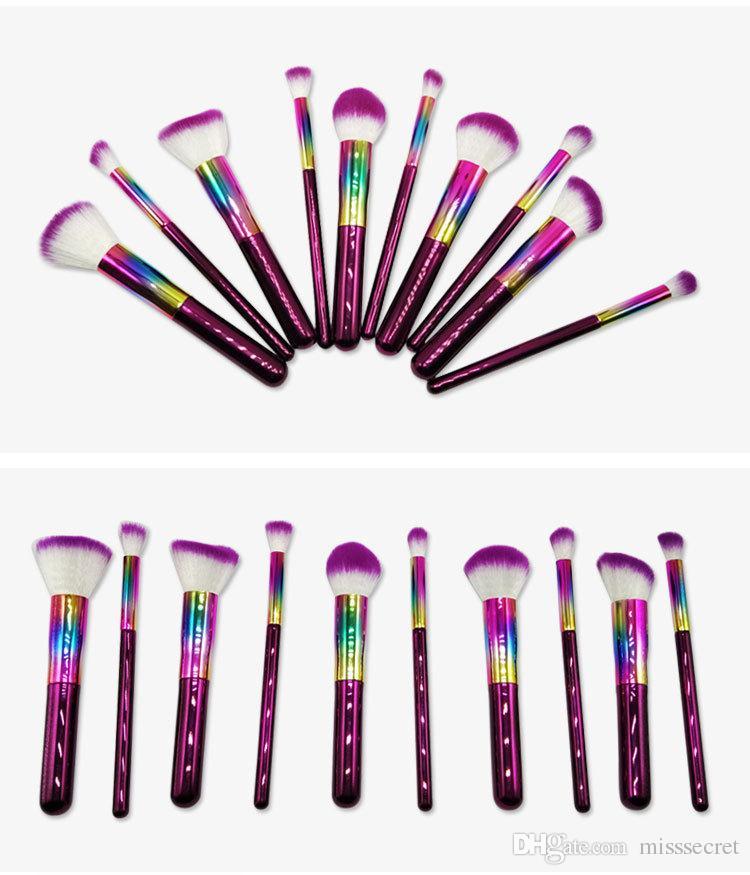 10 Adet Bling Makyaj Fırçalar Seti Glitter Yüz Göz Farı Makyaj Vakıf Allık Dudak Makyaj Fırçalar Kozmetik Fırça Setleri