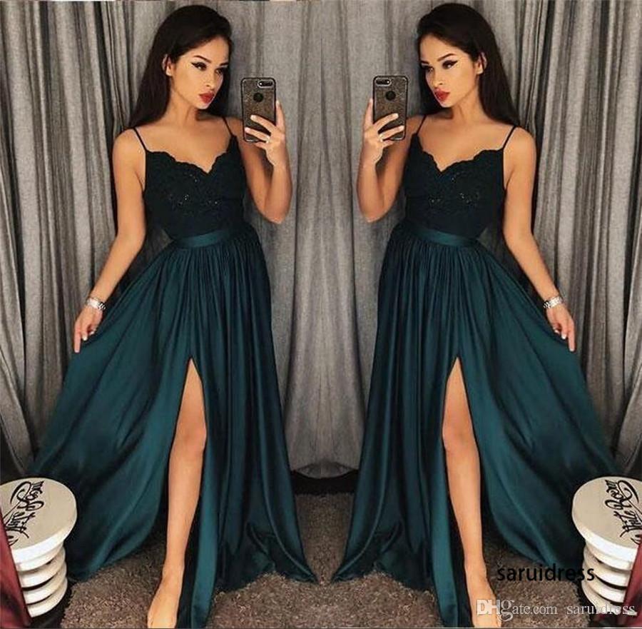 Espagueti con cuello en V de encaje con cuentas Sweep Train Árabe dividida sexy vestidos de noche verde azulado Slit Mermaid Vestidos de baile