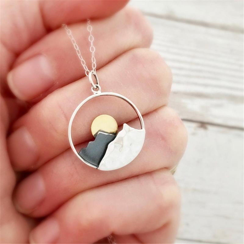 Nuovo arrivo moda gioielli ciondolo montagna alba collana pendente scava fuori collana catena ragazza regalo bambini collana