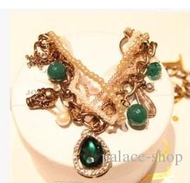 Chaming natural pérola azul pingente de esmeralda colar de corrente de ouro senhora 1688dfd