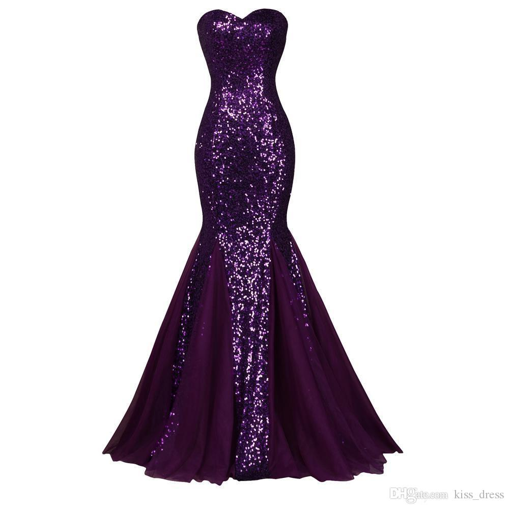 Sparkling Sequined Purple Mermiad Evening Dresses Real Image Sweep Train Sleeveless Pleats Chiffon Sweetheart Formal Party Prom Gowns E267