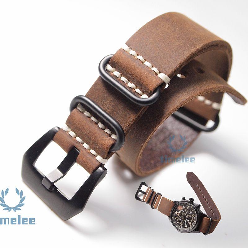 Nova substituição Watch Band Strap couro de cavalo louco nato 20 / mm22mm / 24mm / 26mm