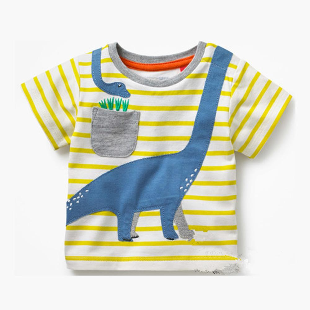 Boys Summer Tops with Animal Applique Kids TShirts Short Sleeve Tees Boy Clothes