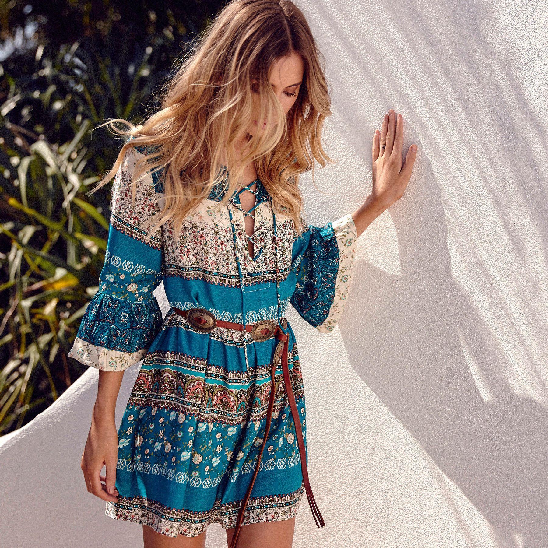 Verão maxi dress mulheres floral print dress sexy com decote em v sem mangas bell manga na altura do joelho bohemia praia midi dress