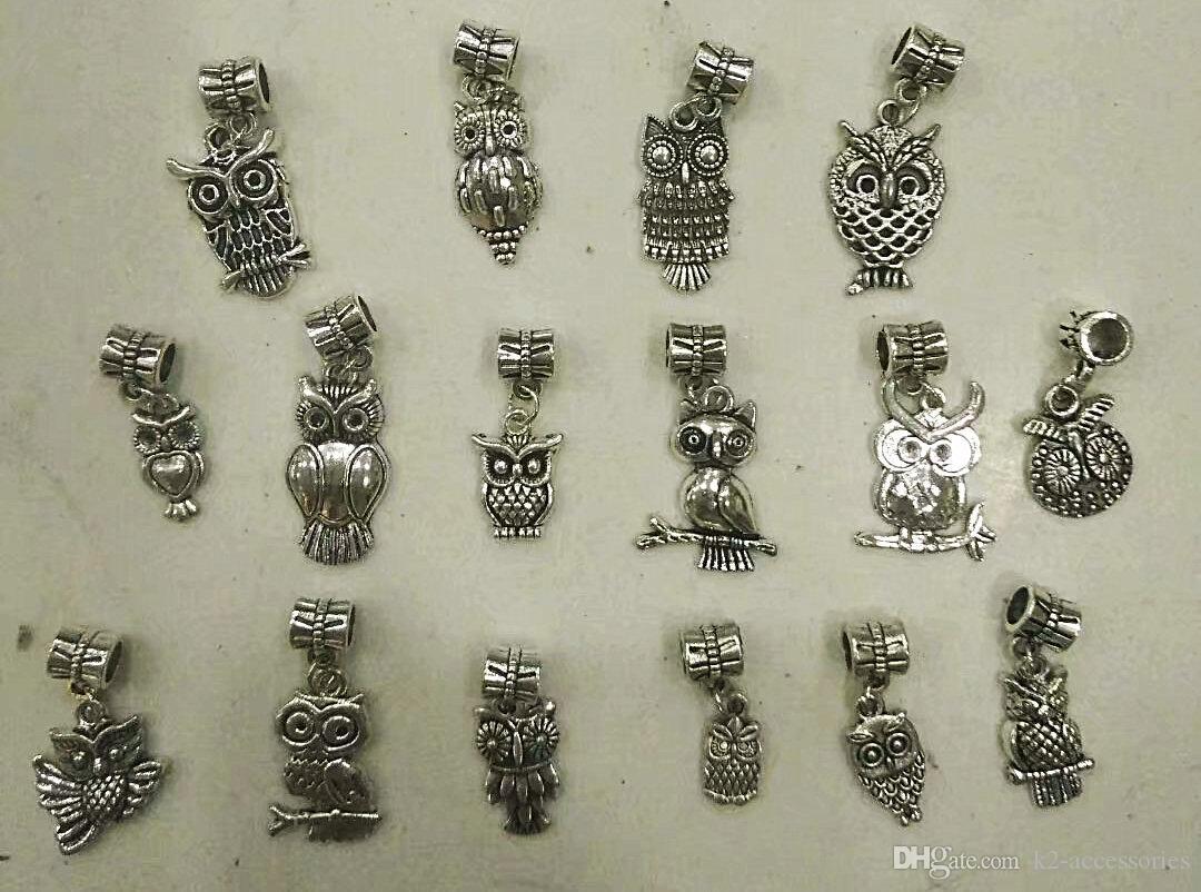 80pcs / lot 16 styles Assortiment Oiseau Hibou Dangle Antique Argent Perles Fit Charme Européen bijoux Bracelet