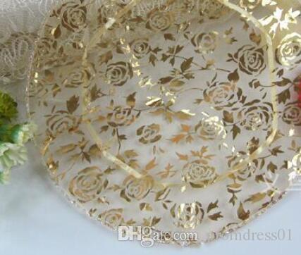 100 sztuk / partia 100 Sztuk Złoto Okrągły Organza Torba Prezent Wedding Favor Party 24 CM Różowy Złoty / Różowy / Czerwona Średnica Nowy