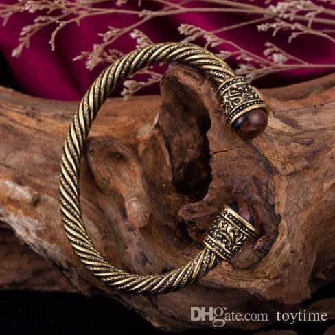 الجملة - Dawapara رئيس خشبي فايكنغ أساور العتيقة لون الذهب والمجوهرات الهندية خارق باقان أساور معدنية هدايا للرجال
