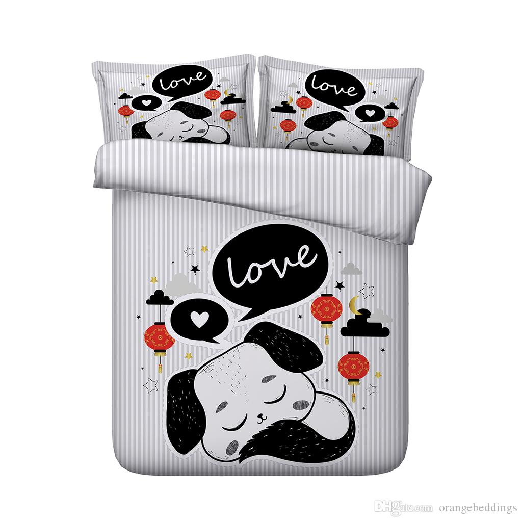 3D Amor do buldogue Bedding Sets animais edredon conjuntos de tampa gato colchas Lençóis têxteis lar gêmeo rainha cheia rei cal rei para crianças meninas