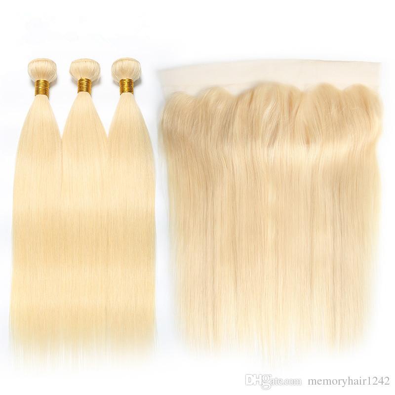 613 13x4 정면 스트레이트 브라질 레미 인간의 머리카락 금발 3 묶음 레이스 클로저 정면과 번들