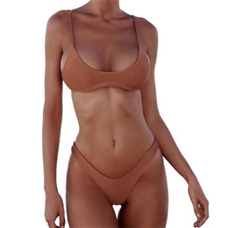 Женский купальник 2019 Push Up Купальный костюм бикини Сексуальный пляжный купальник Push Up Плюс Размер с высокой талией Белый Черный сплошной