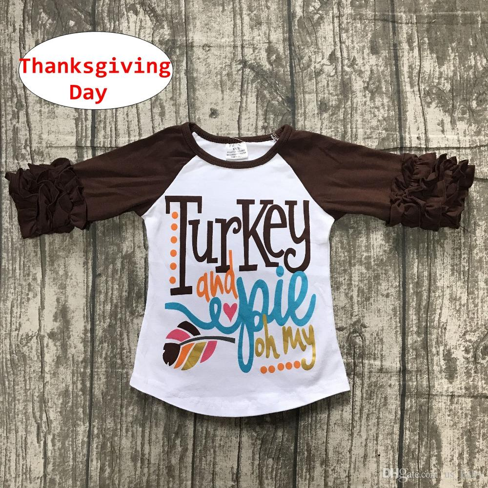 Baby Thanksgiving Day shirts INS Letter print Kids Girl Boy Long ruffle Sleeve Tops Spring Autumn Tees for 1-5T