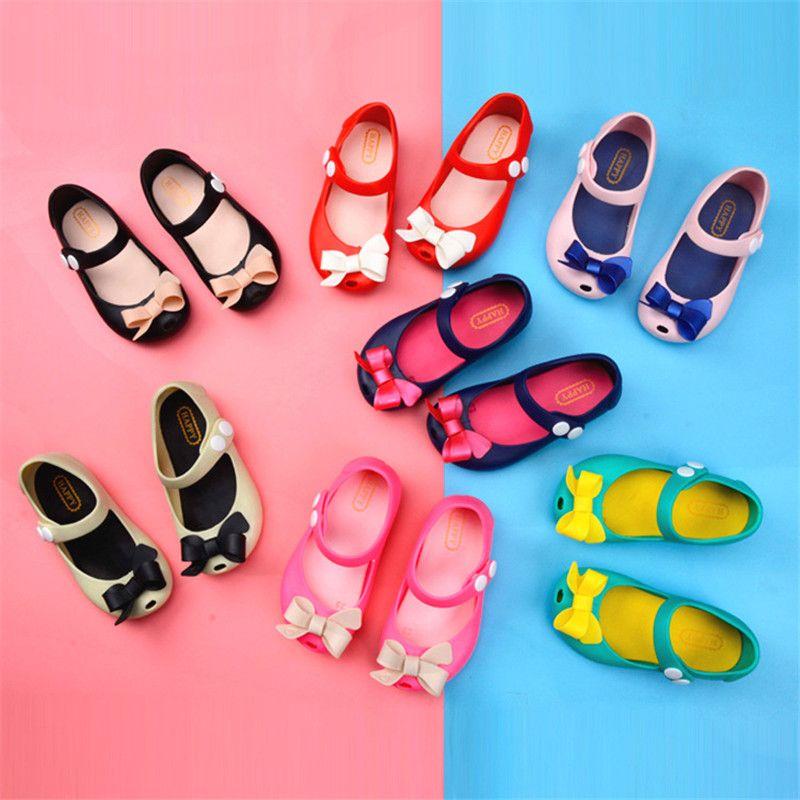 Girls Princess Cartoon bowknot Jelly Shoes Toddler Child Beach Flats Sandals
