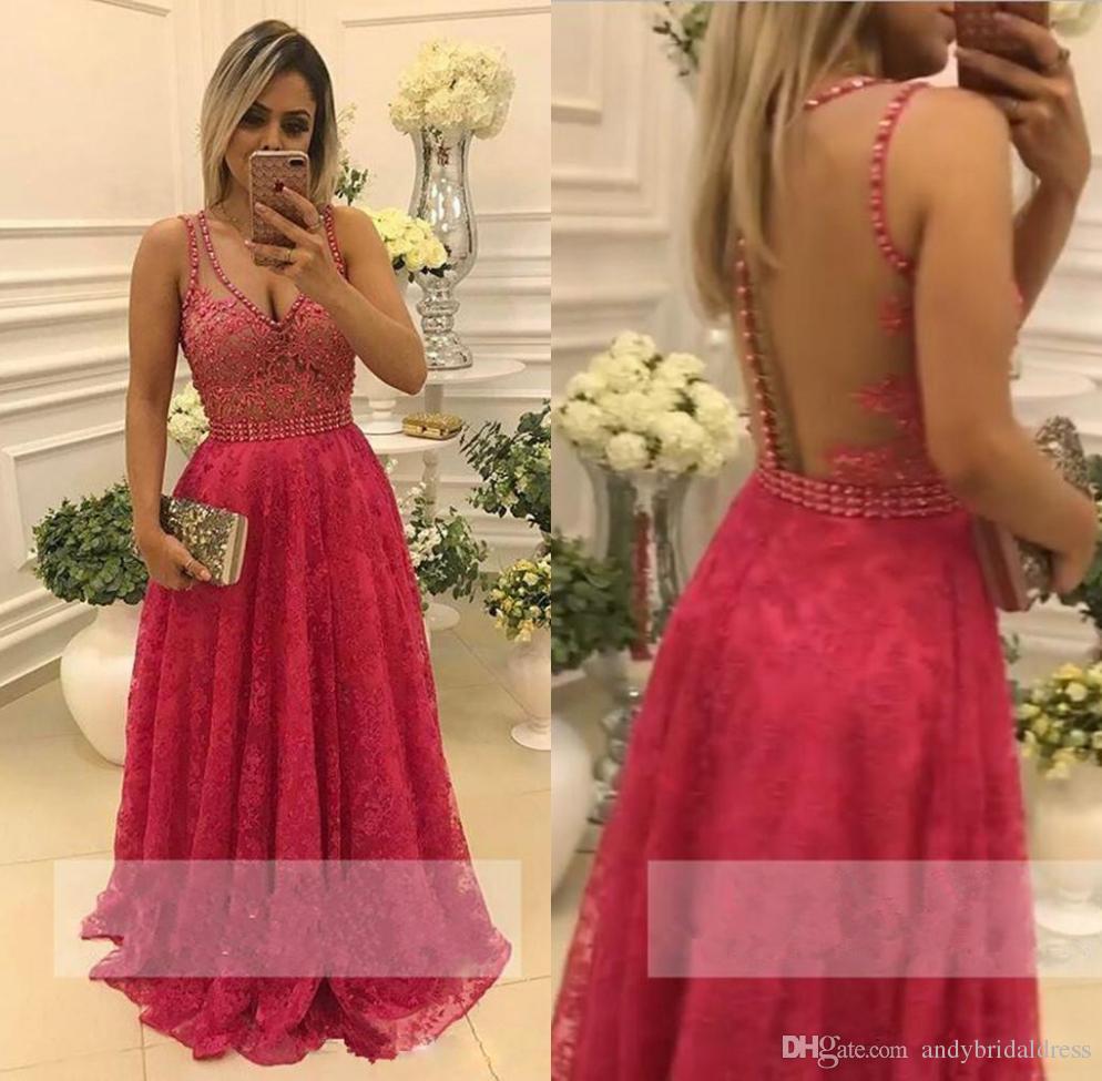 Sexy vestido de noche largo profundo con cuello en V ilusión Bodic una línea de vestido de noche de longitud de piso vestidos de noche vestidos de baile de promoción