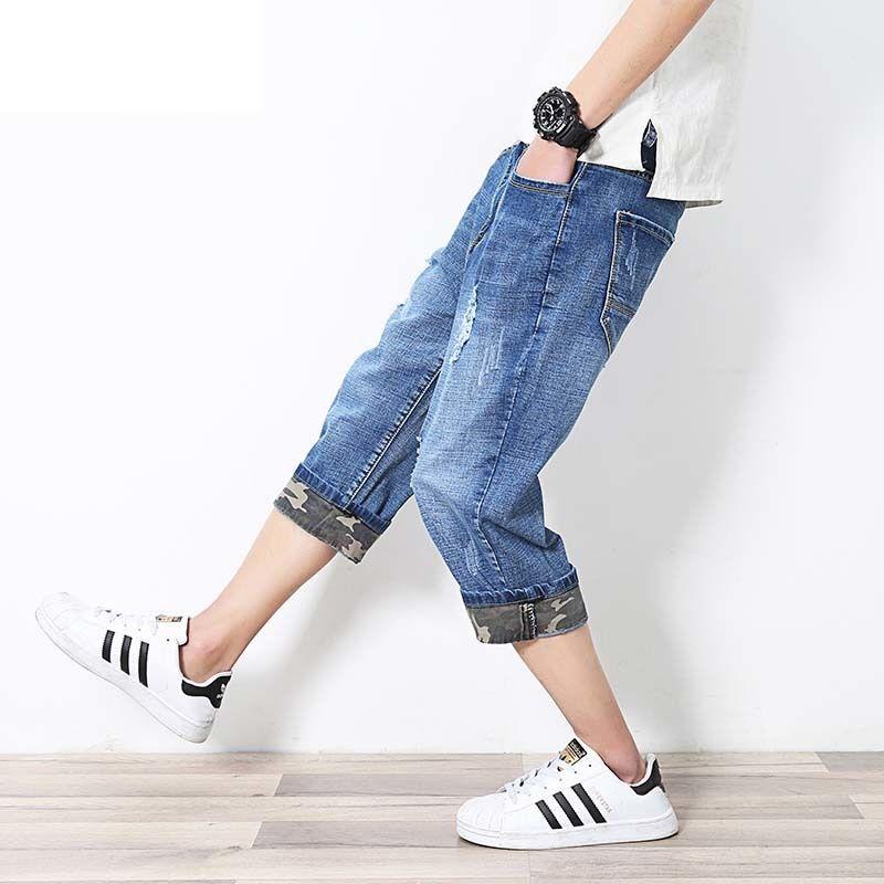 Été Nouveau de la mode Taille de la mode Jeans Longueur élastique HIP Shorts Pants Hop Hommes Harem Pantalons Harem déchirés 3/4 L-6XL Plus Denim Nkolh