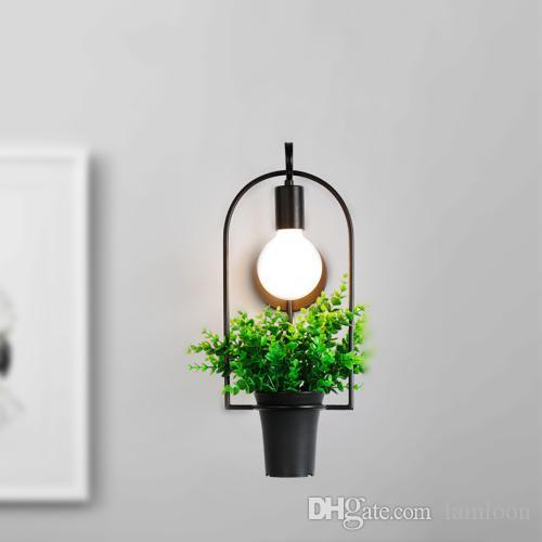 El norte de Europa moderno llevó lámparas de pared simples luces de pared pastoral para la sala de estar de los niños creativo de la planta de plástico iluminación de la pared