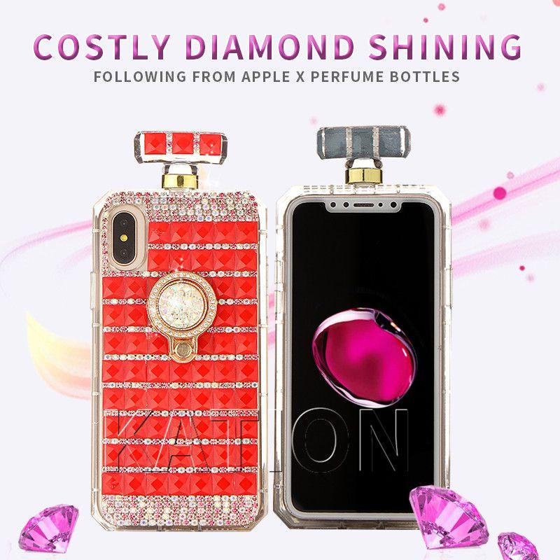 360 Degrés Anneau Stand Diamant Cas De Bouteille De Parfum Cas Diamant Strass Couverture Pour Iphone X 7 8 Plus 6 S Avec Chaîne Cas Proposé Par ...