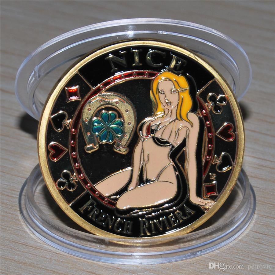 1pcs / lot cartes de poker livraison gratuite Nice Côte d'Azur Sexy Belle poker coin