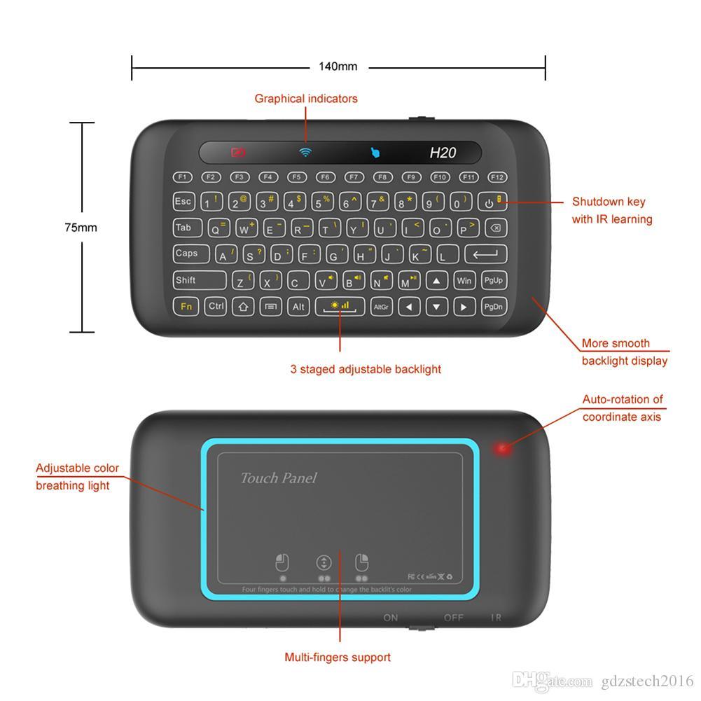 최신 H20 더블 양면 미니 무선 터치 키보드 전체 화면 터치 패드 2.4Ghz 무선 미니 키보드 노트북 데스크탑 타블렛