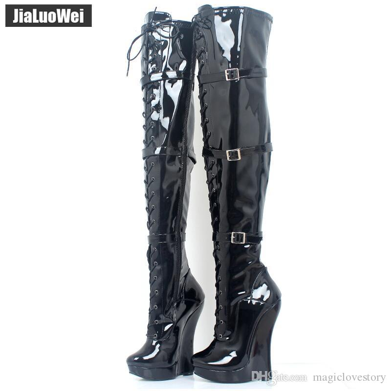 Gold Lace Up Strap Over The Knee Heeled Boots
